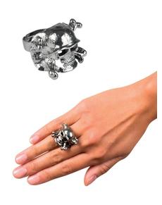 Anello teschio argentato per donna