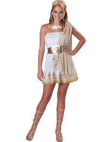 Costume da dea greca dorato per donna