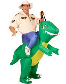 Costume da cavaliere sul dinosauro per adulto