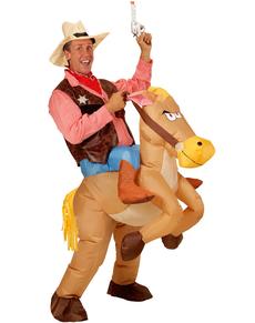 Costume da Cowboy con cavallo gonfiabile per uomo