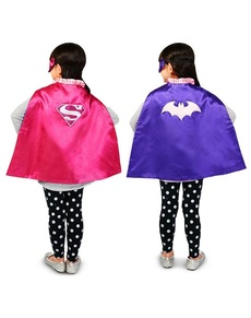 Mantello reversibile Batgirl Supergirl per bambine
